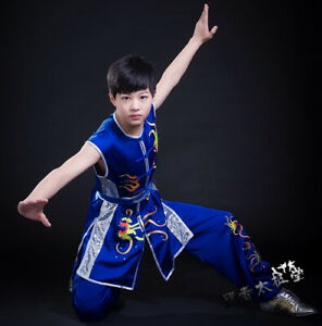 Silk Martial Arts Kung Fu Uniform Sleeveless Wushu Competition Suit Embroidery