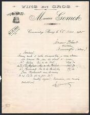 ▬► COMMENTRY (03) Vins en Gros Maurice GOMOT en 1925