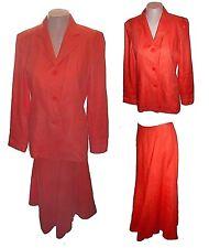 New 2-PC Suit: Skirt & Blazer, Talbots, Business Orange 100%-Irish-Linen  10