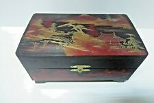 JAPANESE LACQUER MUSICAL JEWELERY TRINKET BOX BALLERINA PAINTED MT FUJI & TEMPLE