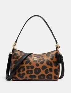 New Coach Lewis Shoulder Bag with Leopard Print in Light Saddle -Coach C2013 Le