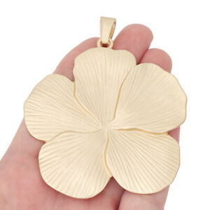 1 Piece Matte Gold Huge Flower Charms Pendants for Necklace Jewellery Making
