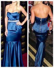 Lipsy 10 VIP Blue Satin Peplum Jewel Waist Maxi Evening Dress Cruises Party BNWT