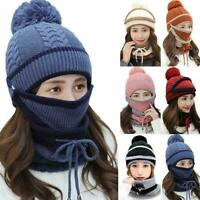 3pcs Women Beanie Hat Pom Bobble Scarf Mask Set Knitted Warm Ski Winter Cap T8K3