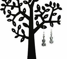 NEW silver plated ear wire hook violin drop earrings free red lace pouch & post