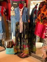 Women's UpCycled Denim Floral Duster Plus 1X/2X Hippie Boho Gypsy Ooak Jacket