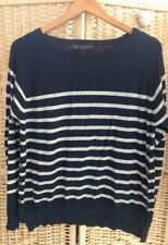 M&S Collection Navy Blue Grey Striped Jumper Cotton Blend Round Neck Size Medium