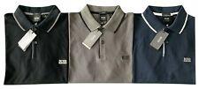 Lot of 3 Hugo Boss FIRENZE 33 Cotton Polo Shirt Slim Fit - Black + Gray + Navy