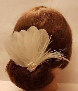 Bridal Feather fascinator Crystal jewel fascinator Hair Clip ,  Hair fascinator