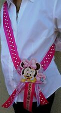 1 Baby Shower ~MOM TO BE SASH with Minnie Mouse~ Pink/Girl, Ribbon, favor,niña