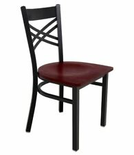 Lancaster Table & Seating Cross Back Black Chair with Mahogany Seat (Lot of 6)