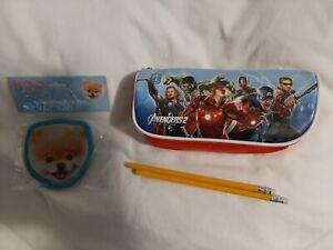 Avengers 2 Pencil Case + 2 Pencils + Worlds Cutest Dog Jumbo Eraser Set NEW Kids