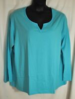 women's BEDFORD FAIR 3/4 sleeves turquoise top size 2X bling around neck