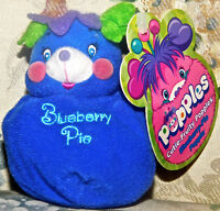 Popples Cutie-Fruity Blueberry-Pie Popple Mini Clip-On Plush Toy NWT 2001 NEW