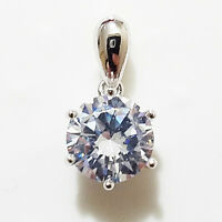 2 Ct Round Cut Solitaire Diamond SOLID 14k White Gold Pendant Charm no Chain