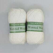 Village Yarn Worsted Weight White 2 Skeins 3oz 183yds Per Skein