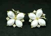 Lisner Clear Rhinestone White Faux Pearl Gold Tone Screw Back Vintage Earrings