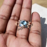 Blue Topaz Ring 925 Sterling Silver Spinner Ring Meditation Handmade Jewelry Z5
