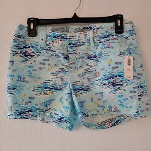OLD NAVY New Chino Shorts Blue Sailboat Ocean Print Regular Short Size 2