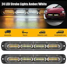 2x White/Amber 24 LED Car Truck Emergency Warning Hazard Flash Strobe Light Bar