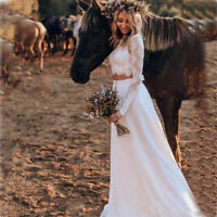 Two Pieces Bohemian Wedding Dresses Long Sleeves Lace Beach Bridal Gown Custom