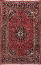 Red Traditional Ardakan Area Rug Wool Hand-Knotted Floral Oriental Carpet 7'x10'