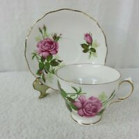 Vintage Royal Vale England Pink Roses Bone China Footed Cup & Saucer Set