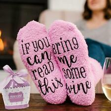 Womens Thermal Novelty Funny Socks If You Can Read This Bring Me Wine Size 6-11