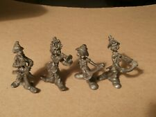 Vintage Fine Pewter Four Clowns Musicians Figurines