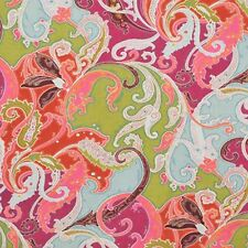 Linen Print Clarence House Drapery Upholstery Fabric Esmeralda Paisley ~ Magenta