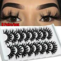 Natural 8 Pairs 100% Real 5D Mink Hair Thick False Eyelashes Strip Lashes Lot UK