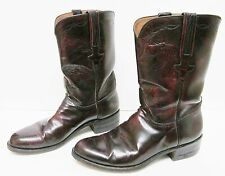 LUCCHESE Goat Leather Boots Roper Western Black Cherry Cordovan L6749 USA 9 D