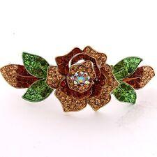 NEW Silver tone rhinestone crystal  bown flower hair barrette clip 14999BR ma