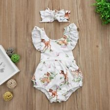 Toddler Infant Baby Girls Deer Romper Bodysuit Jumpsuit Headband Clothes Outfits