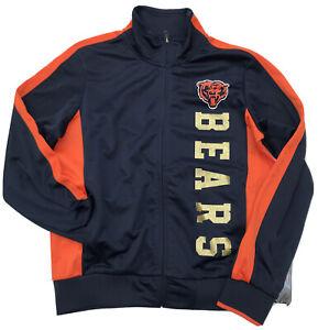 Chicago Bears NFL Team Apparel Women's Glitter Full-Zip Track Medium Jacket