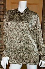 Doncaster Silk Blouse in muted Earth tones Sz 6 NWT