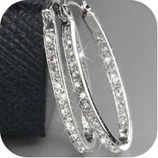 Women's 9K Gold Filled Silver CZ Crystal Big Hoop Huggie Earrings Wedding Gift