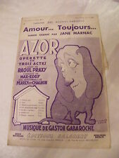 Partition Amour... Toujours...Jane Marnac Azor Opérette Gabaroche