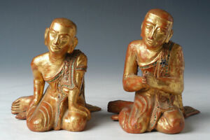 19th Century, Mandalay, A Pair of Antique Burmese Wooden Seated Disciples