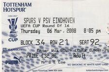 Ticket - Tottenham Hotspur v PSV Eindhoven 06.03.08 UEFA Cup
