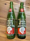 Vintage 70s - 7Up Commemorative Green Glass Bottles-Ohio State Buckeyes Set Of 2