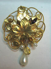 Pin Vintage Golden Leaves Amethyst Rhinestone & Pearl  Sparkly   Brooch