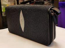 Genuine Stingray Wallets Skin Leather Two Zipper Black Men's Clutch Coin Purses