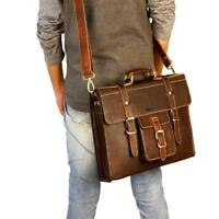 "16"" Best Leather Unisex Leather Messenger Bag for Laptop Book bag Briefcase"