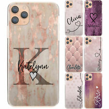 INITIAL PHONE CASE FOR IPHONE 11/12/X PINK PERSONALISED MARBLE FLOWER HARD COVER