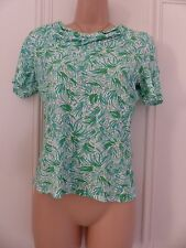Lovely white jersey top with green patterns from Viyella petites size S