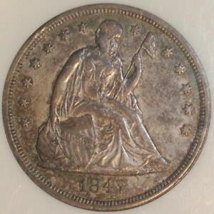 1847 $1 Liberty Seated Silver Dollar ~ NGC AU55