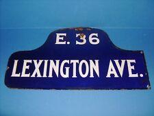 NEW YORK PORCELAIN STREET SIGN 1920's LEXINGTON AVE. DOUBLE SIDED