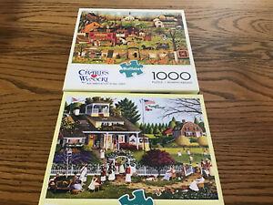 Two (2) Charles Wysocki 1000 Piece Jigsaw Puzzles