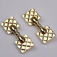Cross Hatch Style Cuff Links Cufflinks #9869 Solid 14 kt Yellow Gold Pair of
